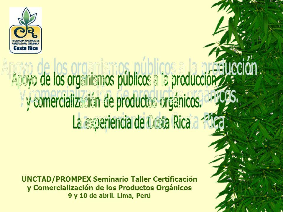 Agricultura Orgánica en Costa Rica (2000) Porcentaje de área dedicada a la producción agropecuaria de los 51.100 km2 del territorio nacional 57% 1.92% Número estimado de organizaciones de pequeños agricultores orgánicos en el país (Certificados y en transición) 135 Agencias certificadoras acreditadas ante DARAO-MAG3 Total has.