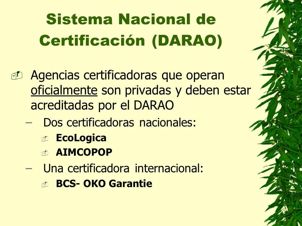 Sistema Nacional de Certificación (DARAO) Agencias certificadoras que operan oficialmente son privadas y deben estar acreditadas por el DARAO –Dos cer