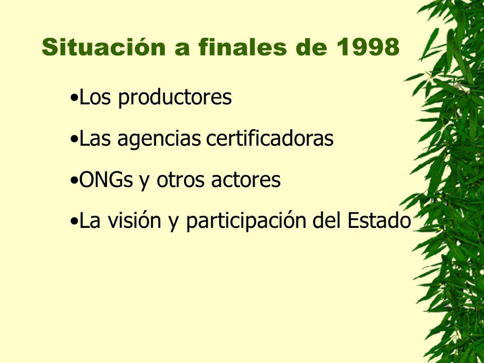 Situación a finales de 1998 Los productores Las agencias certificadoras ONGs y otros actores La visión y participación del Estado