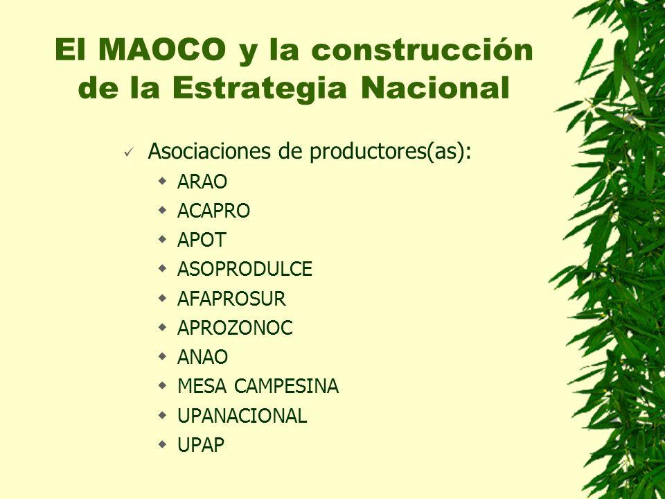 Asociaciones de productores(as): ARAO ACAPRO APOT ASOPRODULCE AFAPROSUR APROZONOC ANAO MESA CAMPESINA UPANACIONAL UPAP El MAOCO y la construcción de la Estrategia Nacional