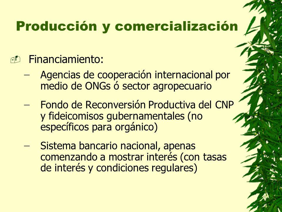Producción y comercialización Financiamiento: –Agencias de cooperación internacional por medio de ONGs ó sector agropecuario –Fondo de Reconversión Pr