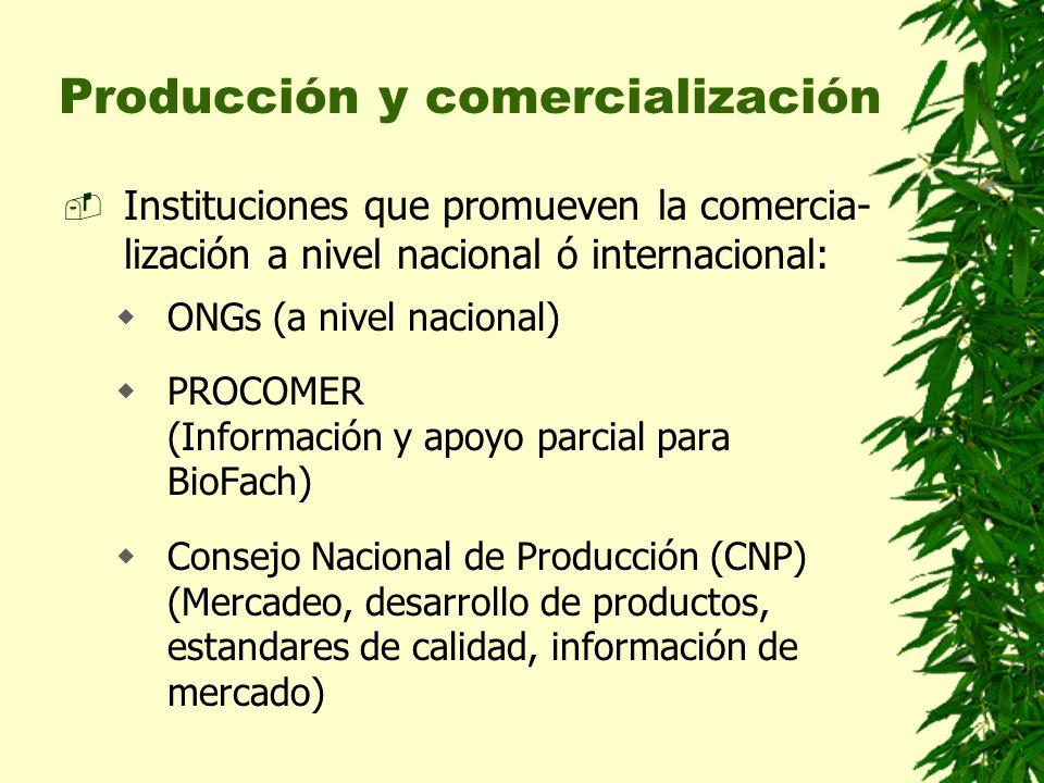 Producción y comercialización Instituciones que promueven la comercia- lización a nivel nacional ó internacional: ONGs (a nivel nacional) PROCOMER (In