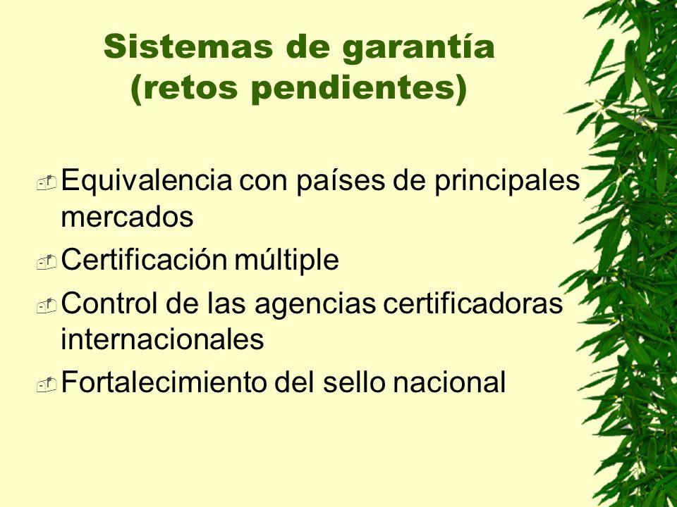 Equivalencia con países de principales mercados Certificación múltiple Control de las agencias certificadoras internacionales Fortalecimiento del sello nacional Sistemas de garantía (retos pendientes)