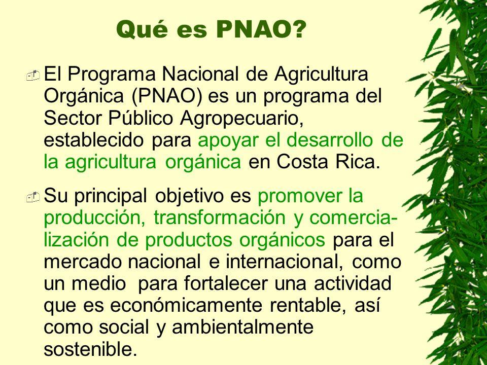 El Programa Nacional de Agricultura Orgánica (PNAO) es un programa del Sector Público Agropecuario, establecido para apoyar el desarrollo de la agricu