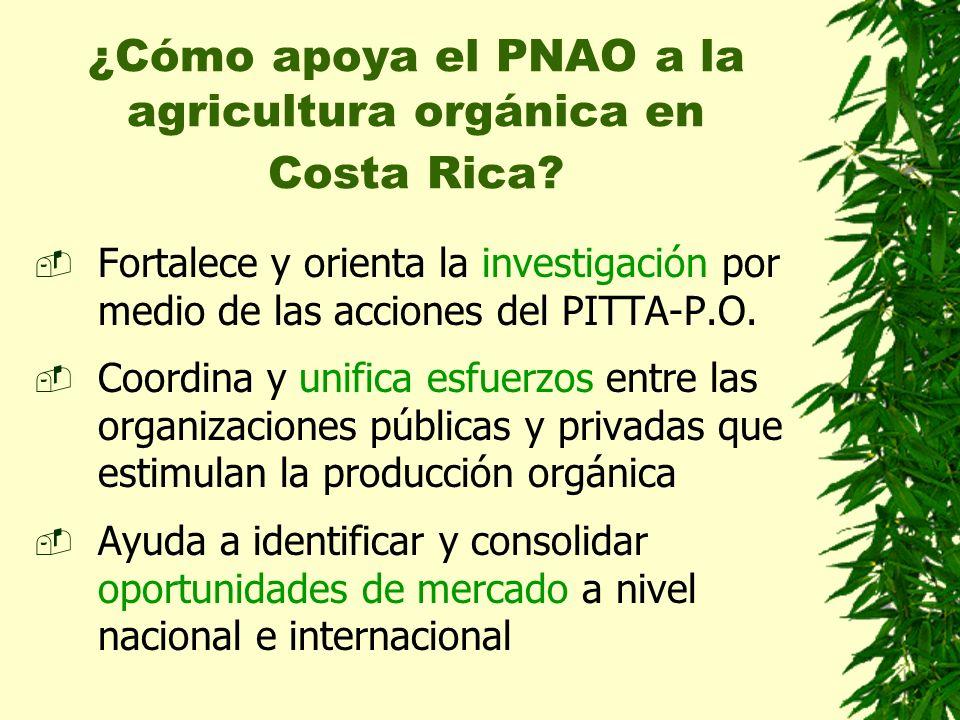 ¿Cómo apoya el PNAO a la agricultura orgánica en Costa Rica? Fortalece y orienta la investigación por medio de las acciones del PITTA-P.O. Coordina y