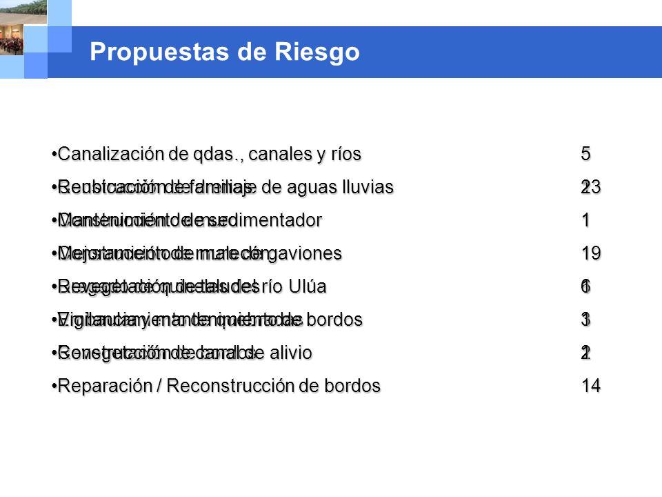 Company name Propuestas de Riesgo Canalización de qdas., canales y ríos5Canalización de qdas., canales y ríos5 Construcción de drenaje de aguas lluvia