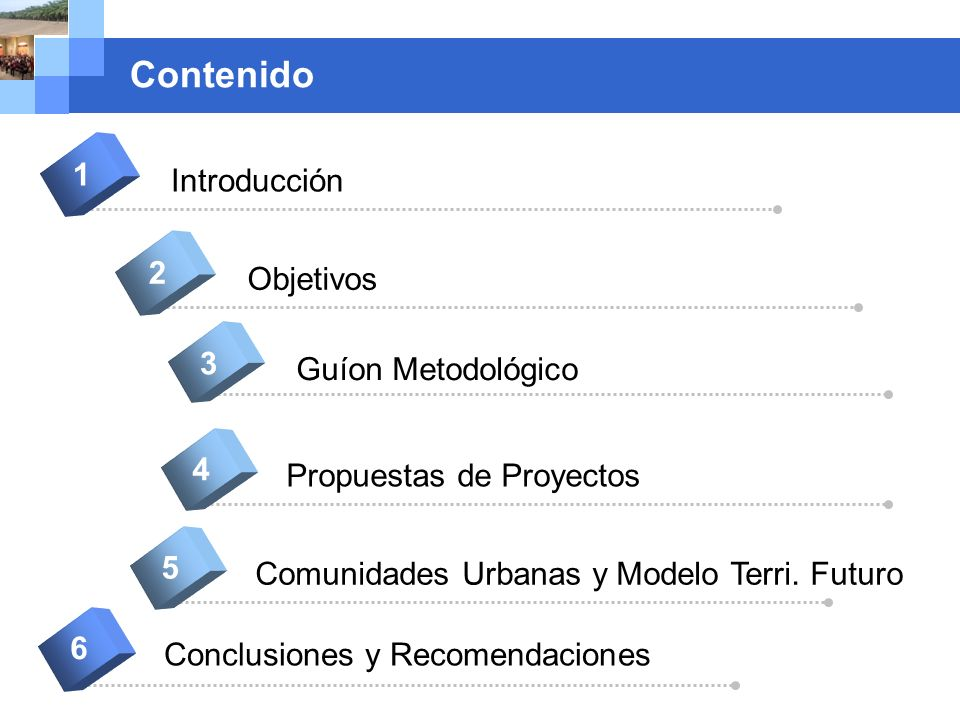 Company name Contenido Introducción 1 Objetivos 2 Guíon Metodológico 3 Comunidades Urbanas y Modelo Terri. Futuro 5 Conclusiones y Recomendaciones 6 P