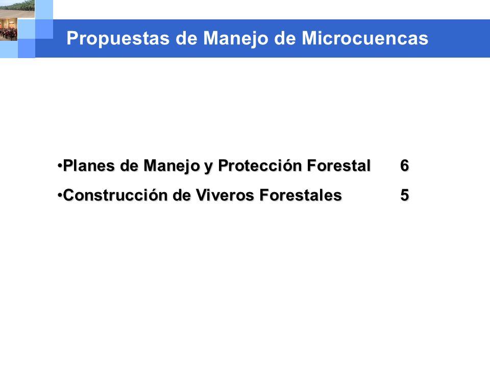 Company name Propuestas de Manejo de Microcuencas Planes de Manejo y Protección Forestal 6Planes de Manejo y Protección Forestal 6 Construcción de Viv