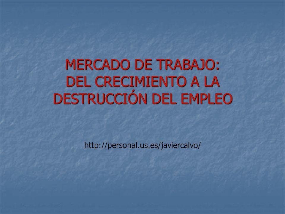 MERCADO DE TRABAJO: DEL CRECIMIENTO A LA DESTRUCCIÓN DEL EMPLEO http://personal.us.es/javiercalvo/