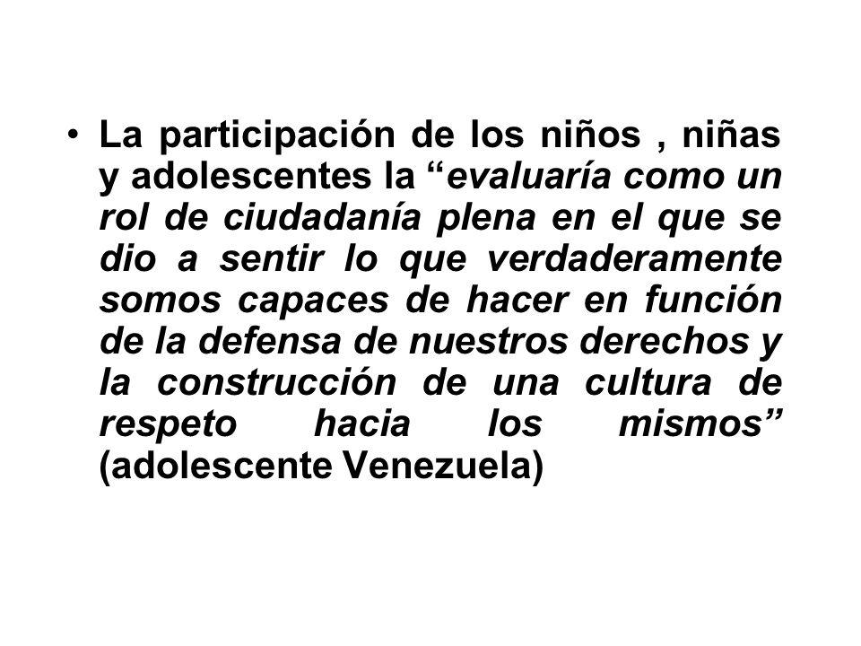 La participación de los niños, niñas y adolescentes la evaluaría como un rol de ciudadanía plena en el que se dio a sentir lo que verdaderamente somos capaces de hacer en función de la defensa de nuestros derechos y la construcción de una cultura de respeto hacia los mismos (adolescente Venezuela)