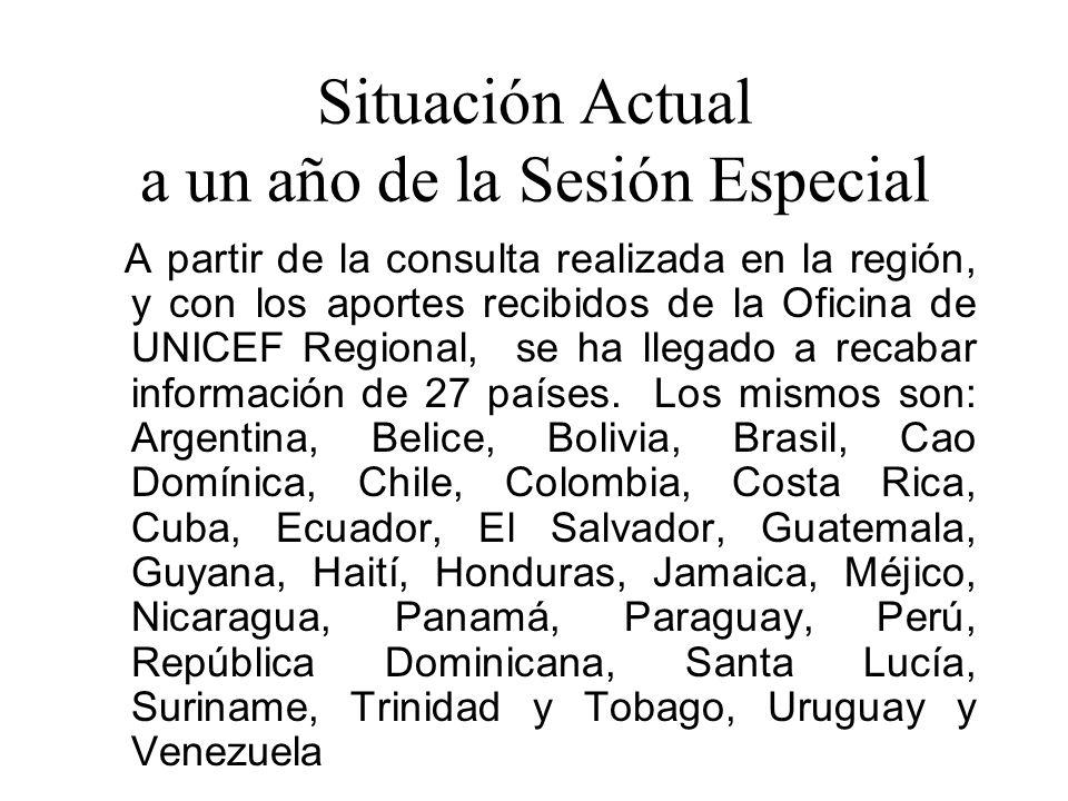 Situación Actual a un año de la Sesión Especial A partir de la consulta realizada en la región, y con los aportes recibidos de la Oficina de UNICEF Regional, se ha llegado a recabar información de 27 países.