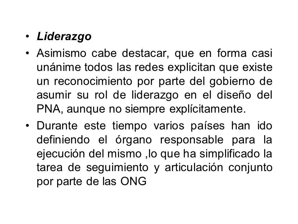 Liderazgo Asimismo cabe destacar, que en forma casi unánime todos las redes explicitan que existe un reconocimiento por parte del gobierno de asumir su rol de liderazgo en el diseño del PNA, aunque no siempre explícitamente.