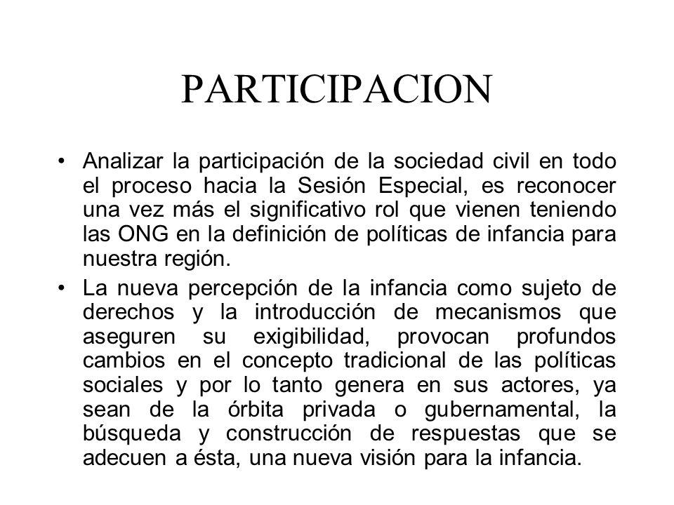 PARTICIPACION Analizar la participación de la sociedad civil en todo el proceso hacia la Sesión Especial, es reconocer una vez más el significativo rol que vienen teniendo las ONG en la definición de políticas de infancia para nuestra región.