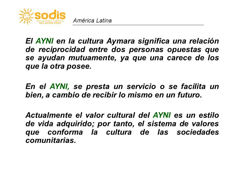 América Latina El AYNI en la cultura Aymara significa una relación de reciprocidad entre dos personas opuestas que se ayudan mutuamente, ya que una ca