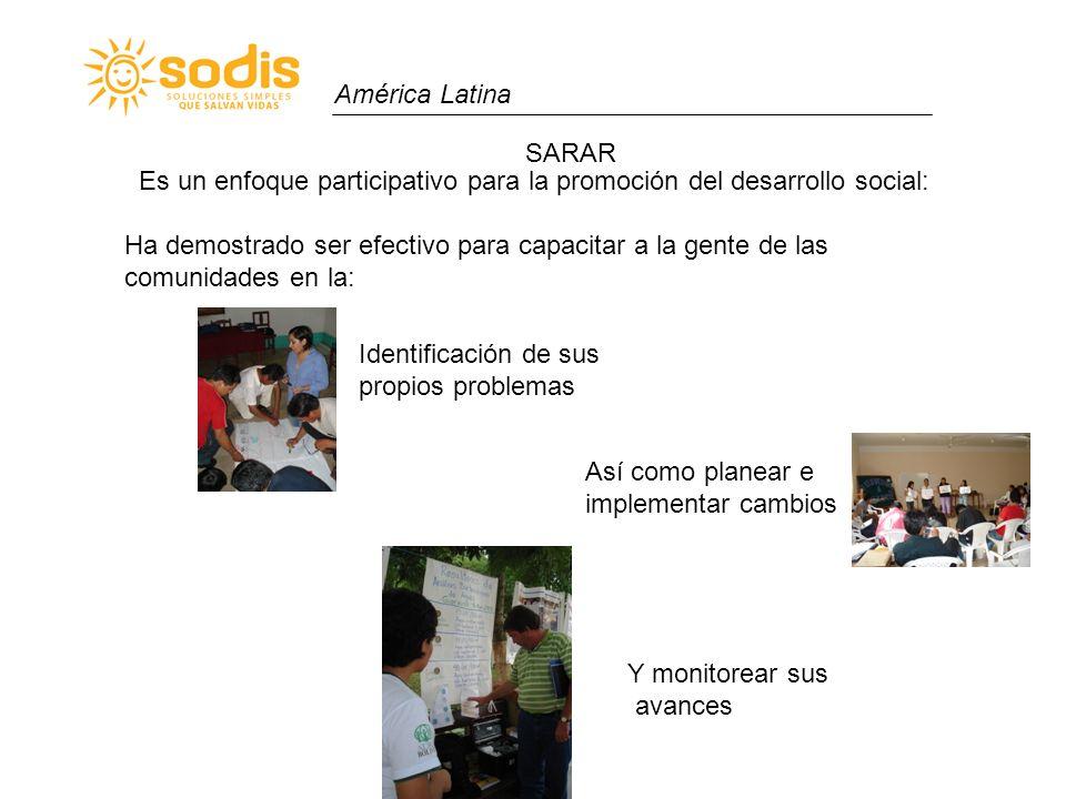 América Latina SARAR Está basado en una filosofía de desarrollo participativo, cuyos principios incluyen: 1.El alto nivel de involucramiento personal en la toma de decisiones es la base del compromiso real para lograr el cambio a largo plazo.