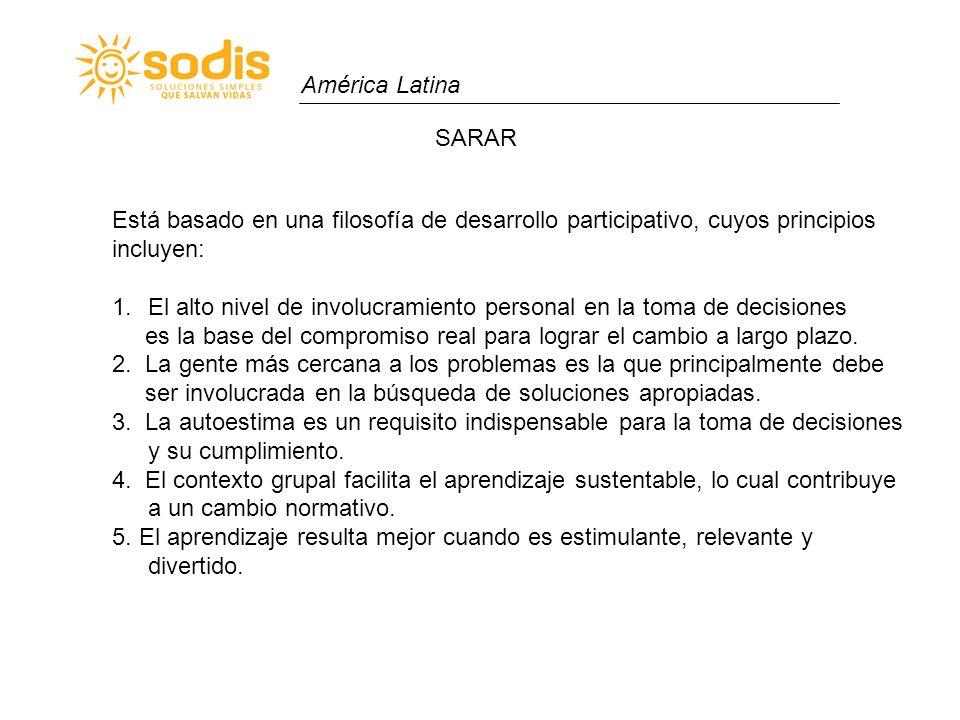 América Latina SARAR Está basado en una filosofía de desarrollo participativo, cuyos principios incluyen: 1.El alto nivel de involucramiento personal