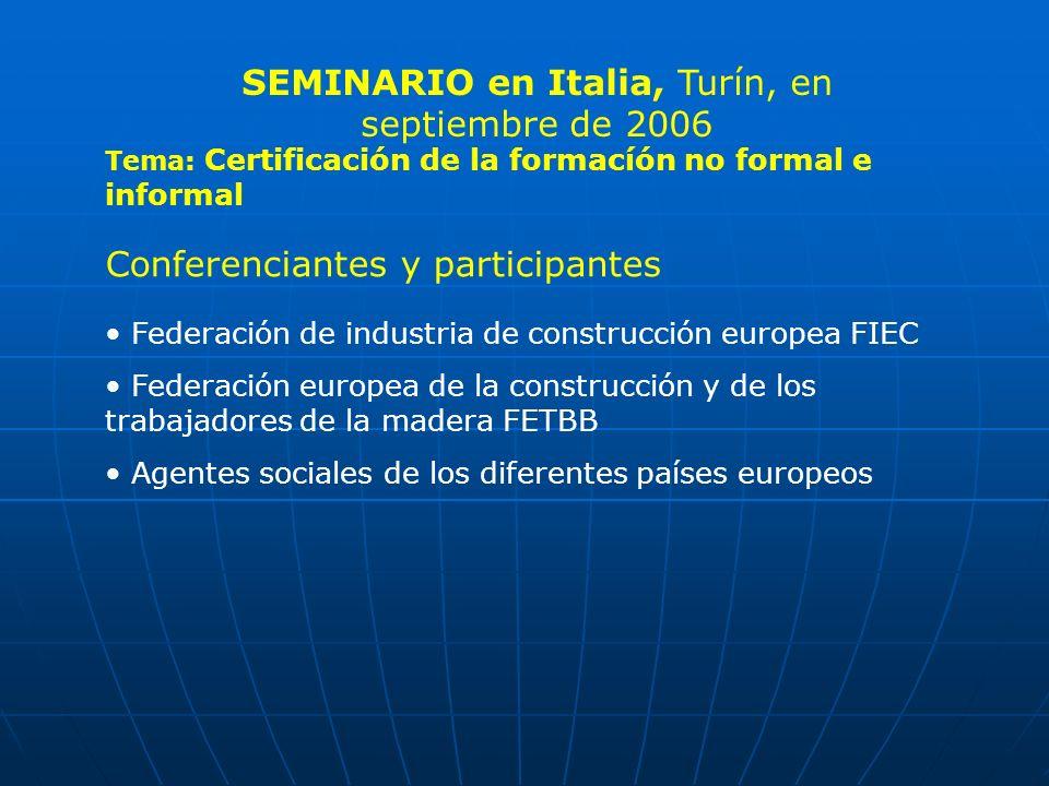 Tema: Certificación de la formacíón no formal e informal Conferenciantes y participantes Federación de industria de construcción europea FIEC Federaci