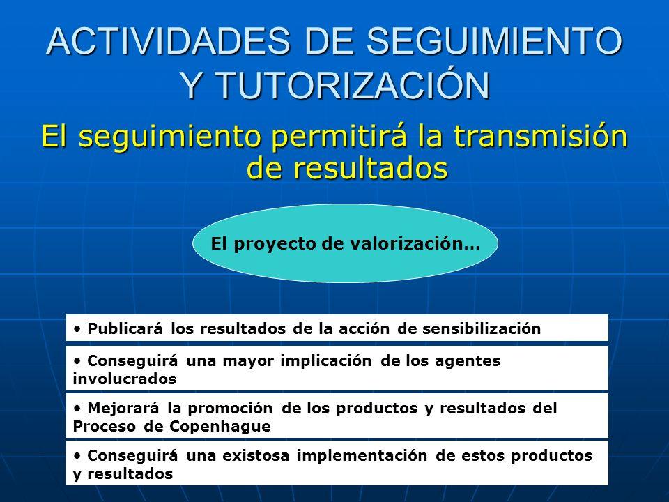 ACTIVIDADES DE SEGUIMIENTO Y TUTORIZACIÓN El seguimiento permitirá la transmisión de resultados El proyecto de valorización… Publicará los resultados