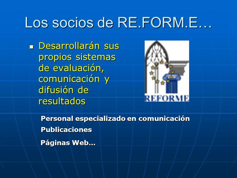 Los socios de RE.FORM.E… Desarrollarán sus propios sistemas de evaluación, comunicación y difusión de resultados Desarrollarán sus propios sistemas de