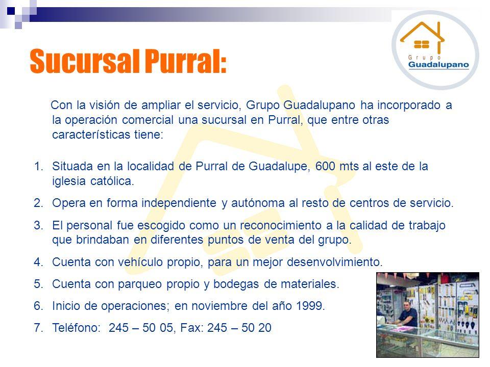 Con la visión de ampliar el servicio, Grupo Guadalupano ha incorporado a la operación comercial una sucursal en Purral, que entre otras característica