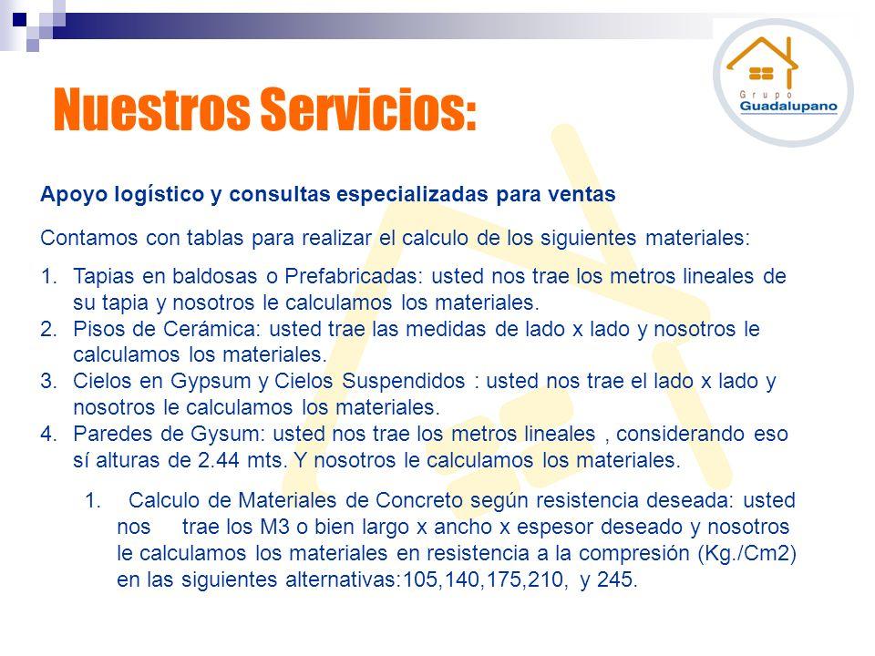 Nuestros Servicios: Apoyo logístico y consultas especializadas para ventas Contamos con tablas para realizar el calculo de los siguientes materiales: