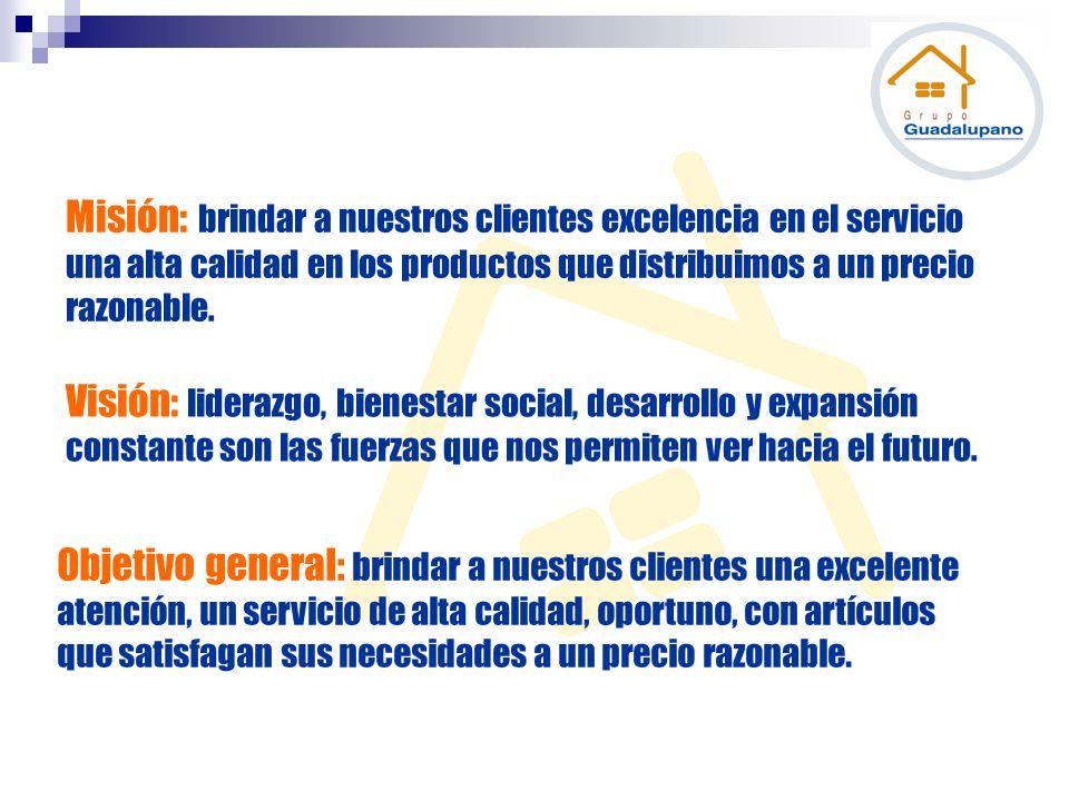 Misión: brindar a nuestros clientes excelencia en el servicio una alta calidad en los productos que distribuimos a un precio razonable. Visión: lidera