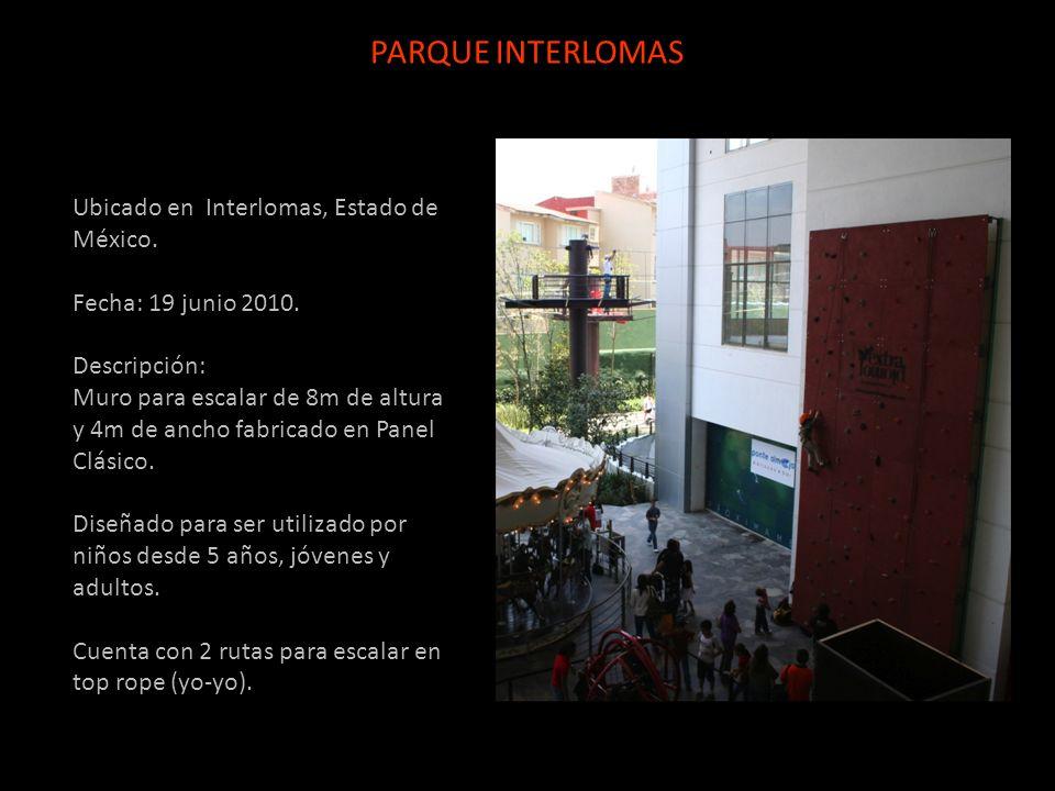 Ubicado en Interlomas, Estado de México. Fecha: 19 junio 2010. Descripción: Muro para escalar de 8m de altura y 4m de ancho fabricado en Panel Clásico