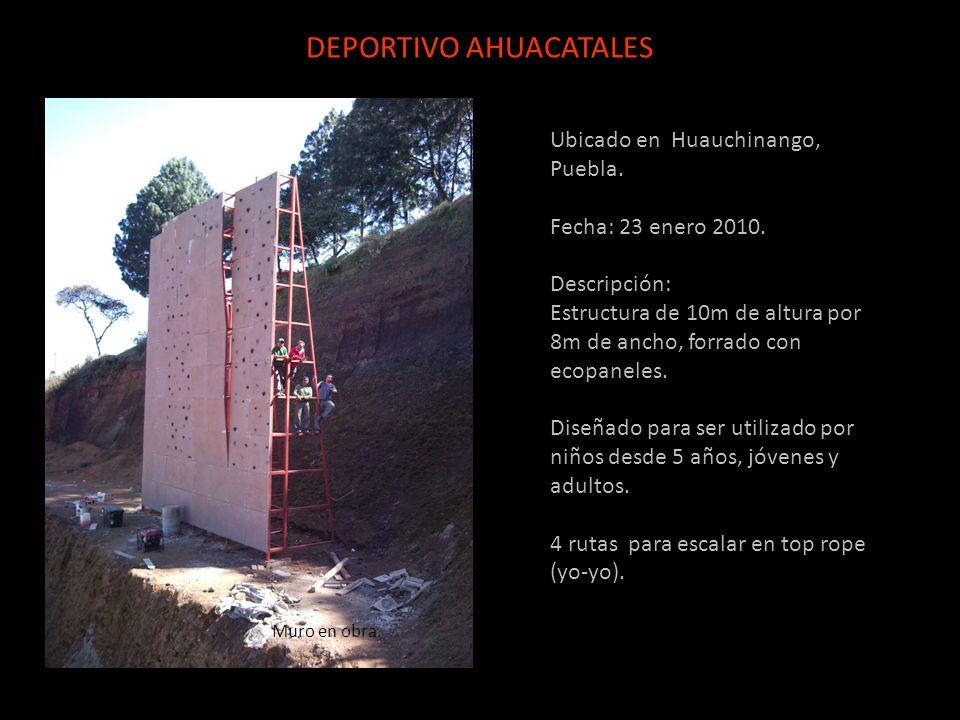 Ubicado en Huauchinango, Puebla. Fecha: 23 enero 2010. Descripción: Estructura de 10m de altura por 8m de ancho, forrado con ecopaneles. Diseñado para