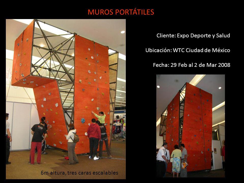 Cliente: Expo Deporte y Salud Ubicación: WTC Ciudad de México Fecha: 29 Feb al 2 de Mar 2008 MUROS PORTÁTILES 6m altura, tres caras escalables