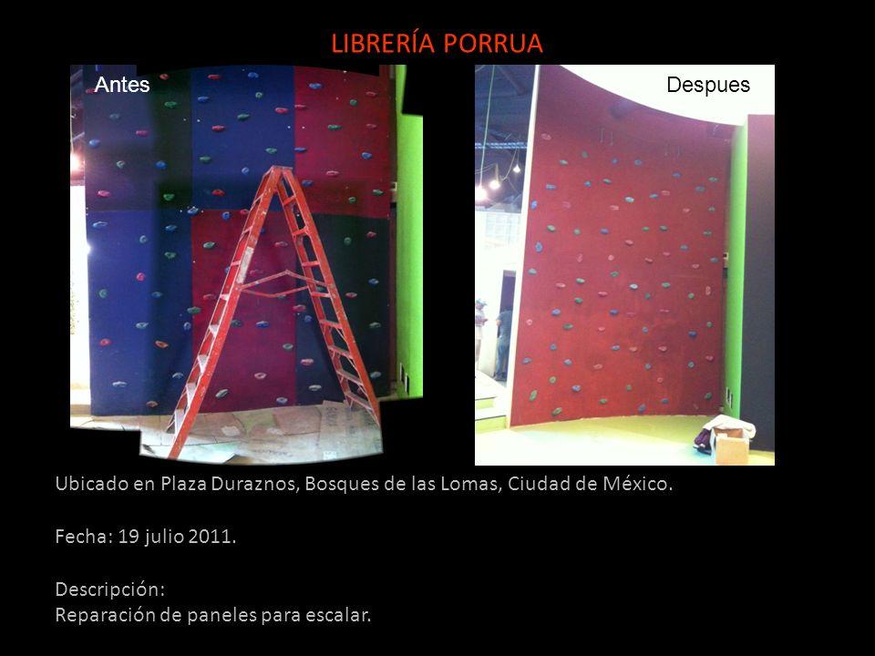 Ubicado en Plaza Duraznos, Bosques de las Lomas, Ciudad de México. Fecha: 19 julio 2011. Descripción: Reparación de paneles para escalar. LIBRERÍA POR