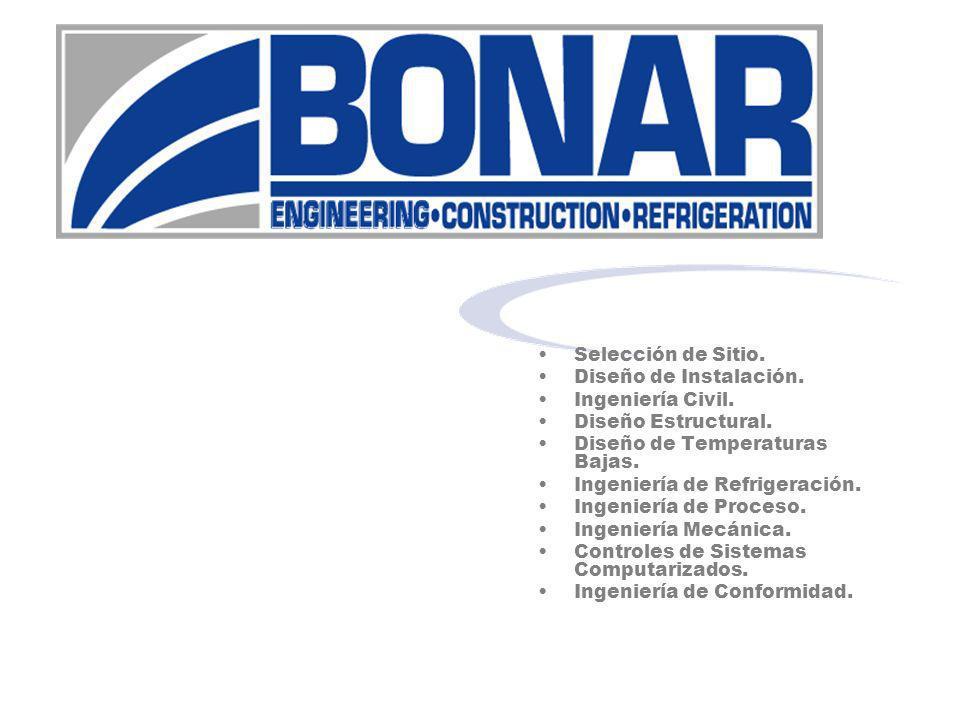 Selección de Sitio. Diseño de Instalación. Ingeniería Civil. Diseño Estructural. Diseño de Temperaturas Bajas. Ingeniería de Refrigeración. Ingeniería