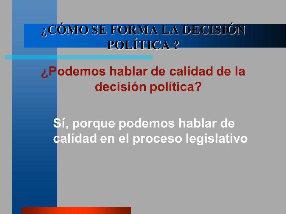 ¿CÓMO SE FORMA LA DECISIÓN POLÍTICA . ¿Podemos hablar de calidad de la decisión política.