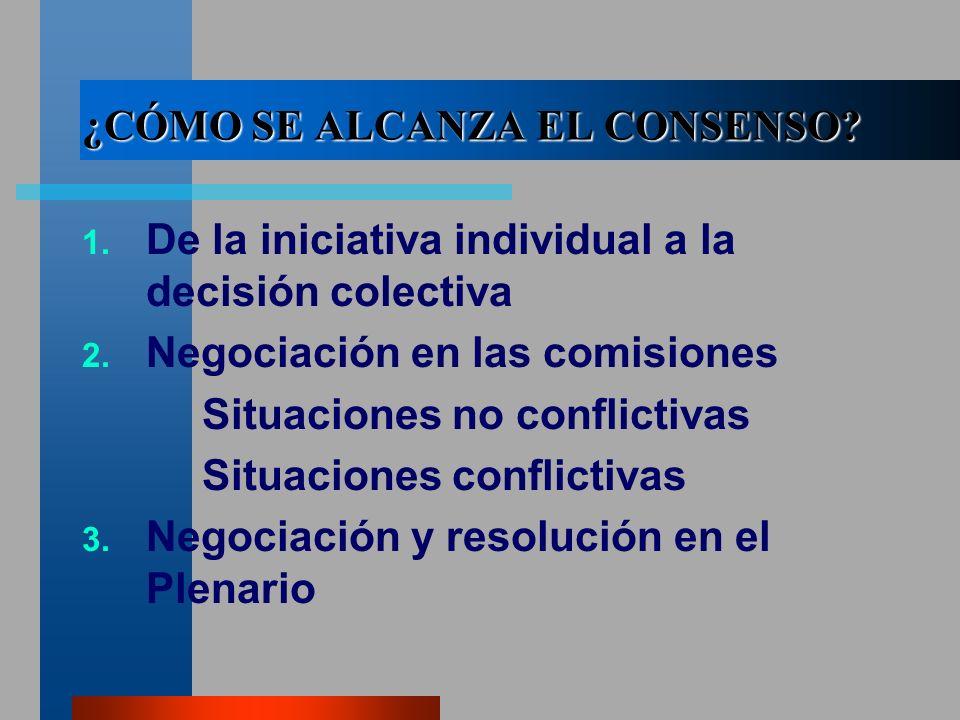 ¿CÓMO SE ALCANZA EL CONSENSO. 1. De la iniciativa individual a la decisión colectiva 2.