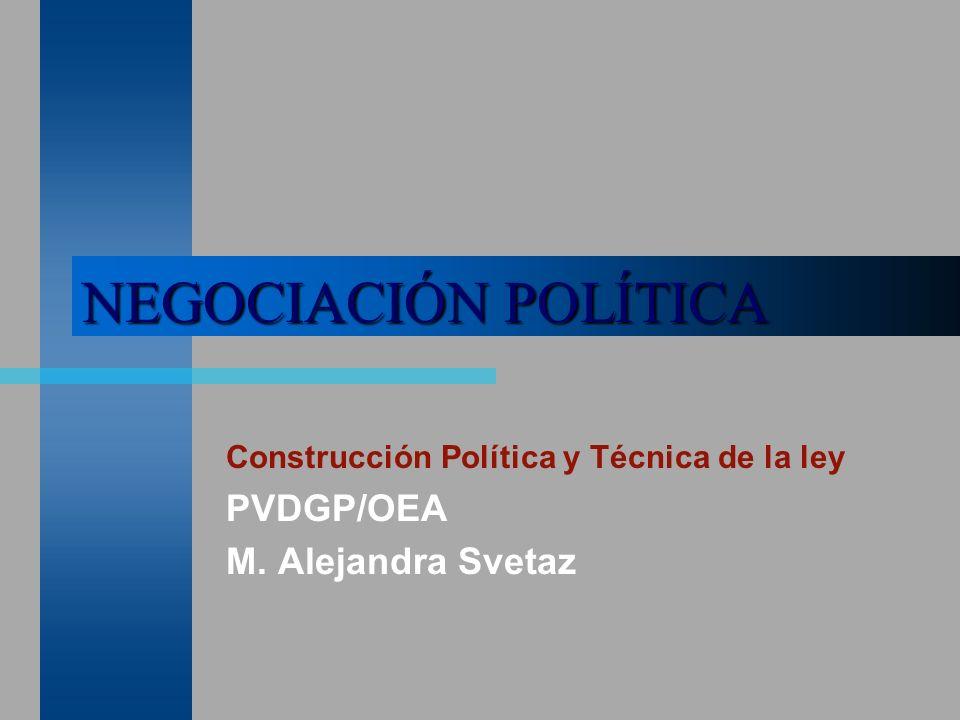 NEGOCIACIÓN POLÍTICA Construcción Política y Técnica de la ley PVDGP/OEA M. Alejandra Svetaz