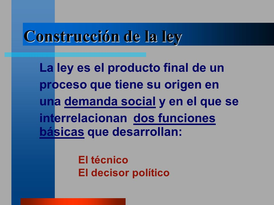 Construcción de la ley La ley es el producto final de un proceso que tiene su origen en una demanda social y en el que se interrelacionan dos funciones básicas que desarrollan: El técnico El decisor político