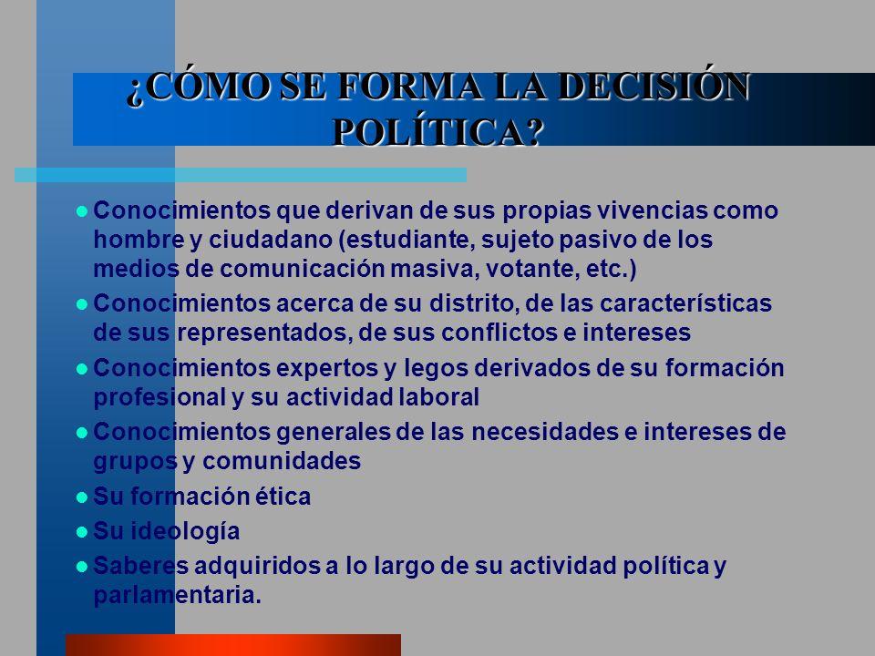 ¿CÓMO SE FORMA LA DECISIÓN POLÍTICA.