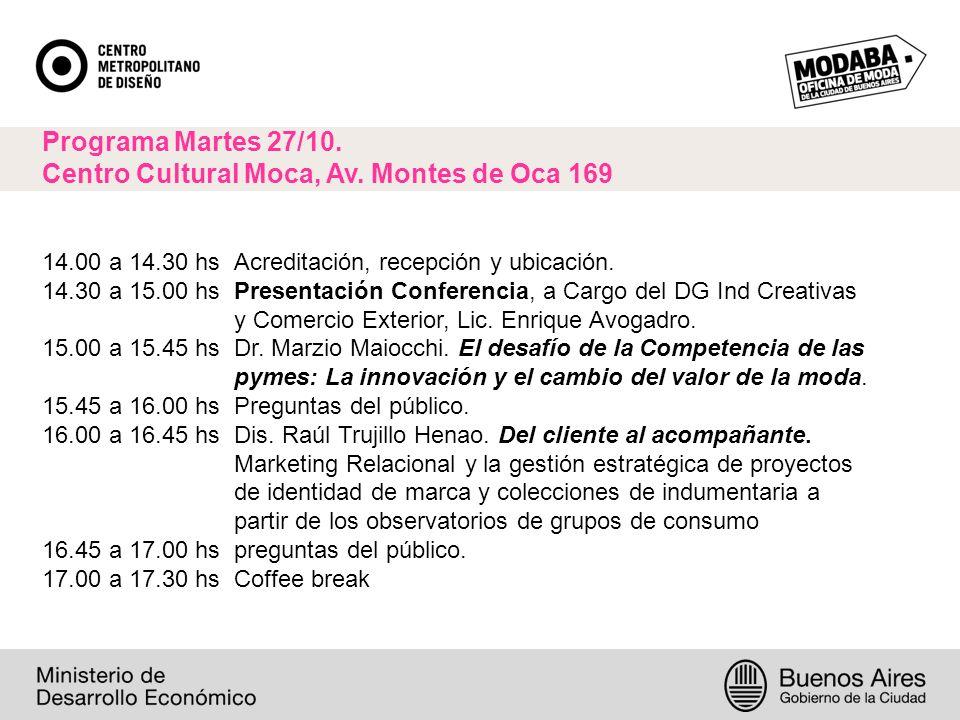 Programa Martes 27/10. Centro Cultural Moca, Av.