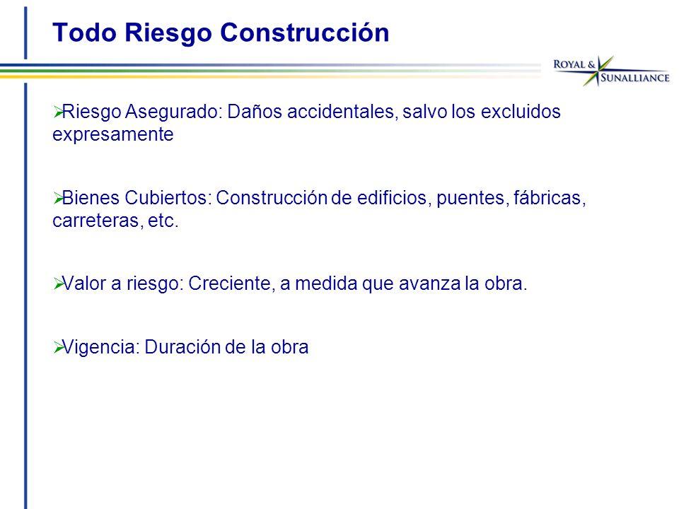 Todo Riesgo Construcción Riesgo Asegurado: Daños accidentales, salvo los excluidos expresamente Bienes Cubiertos: Construcción de edificios, puentes, fábricas, carreteras, etc.