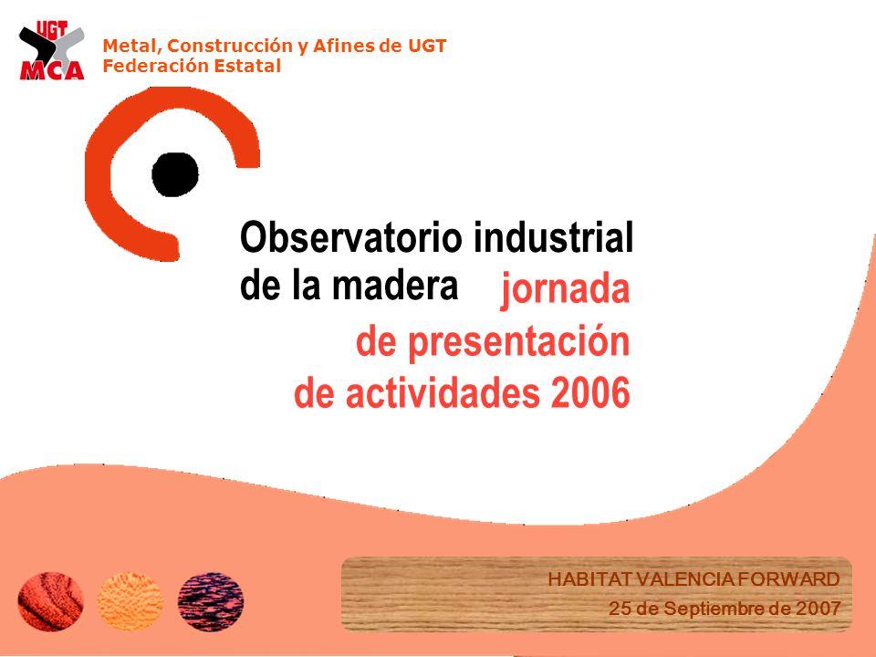 Metal, Construcción y Afines de UGT Federación Estatal jornada de presentación de actividades 2006 HABITAT VALENCIA FORWARD 25 de Septiembre de 2007 Observatorio industrial de la madera