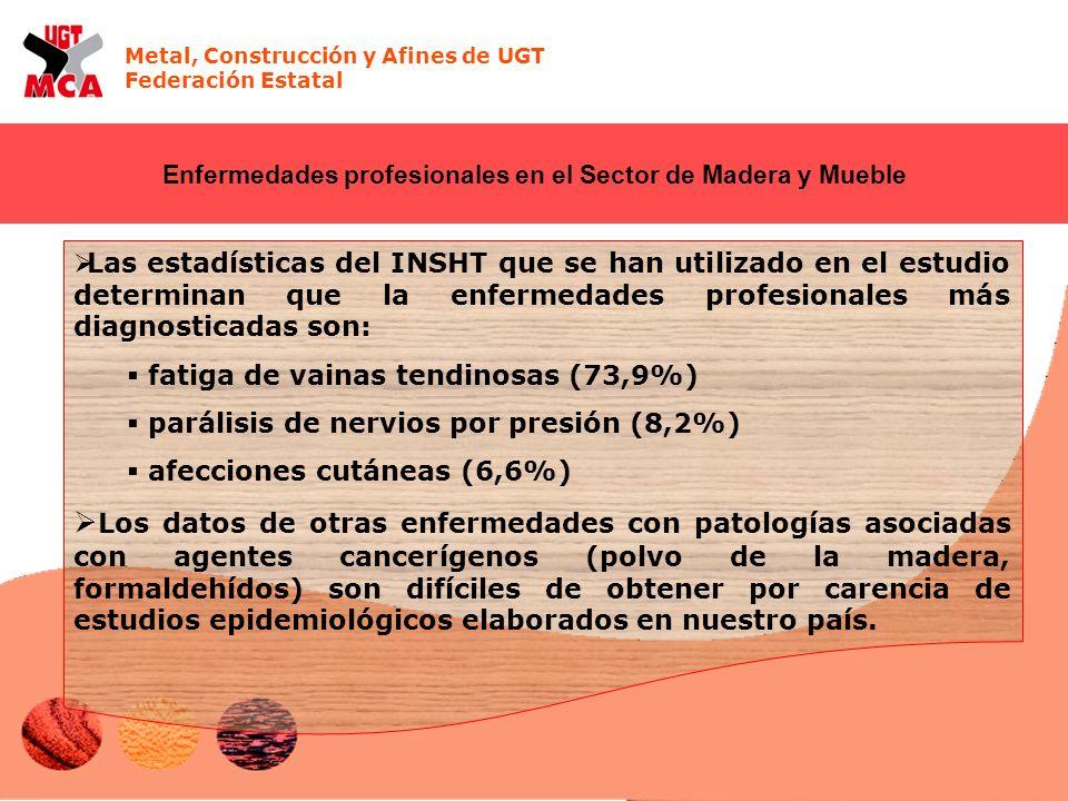 Metal, Construcción y Afines de UGT Federación Estatal Enfermedades profesionales en el Sector de Madera y Mueble Las estadísticas del INSHT que se ha