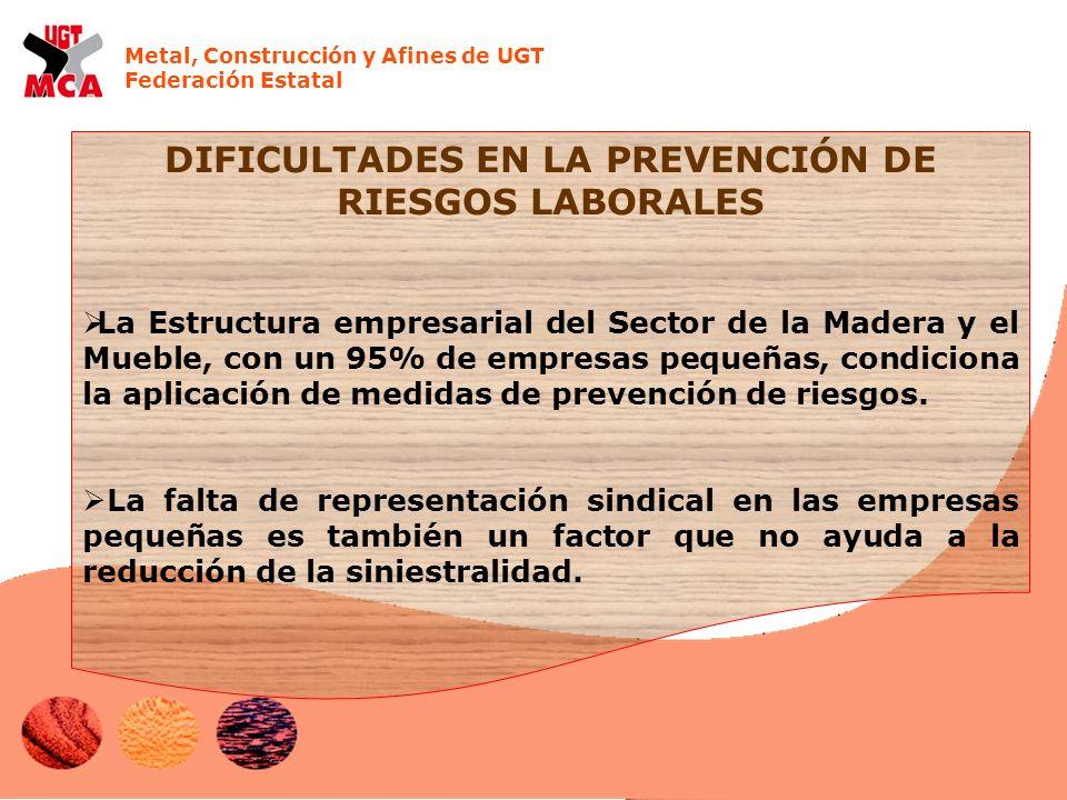 Metal, Construcción y Afines de UGT Federación Estatal DIFICULTADES EN LA PREVENCIÓN DE RIESGOS LABORALES La Estructura empresarial del Sector de la Madera y el Mueble, con un 95% de empresas pequeñas, condiciona la aplicación de medidas de prevención de riesgos.