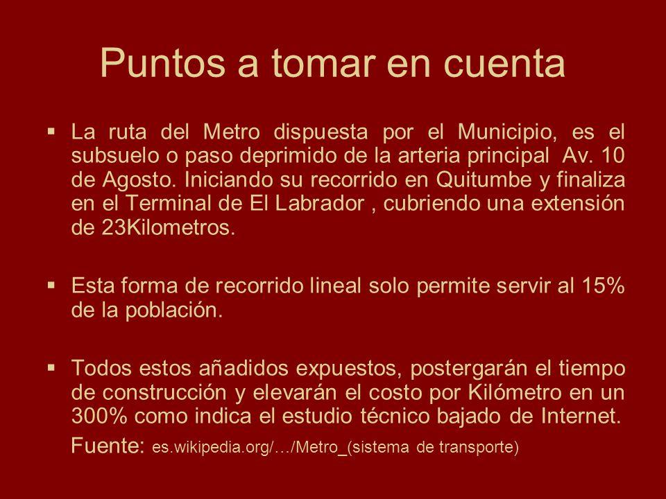 Referencia al incremento del costo por kilómetro debido a las condiciones de suelo en Quito Fuente: es.wikipedia.org/…/Metro_(sistema de transporte) Sin embargo no todas la ciudades del mundo pueden contar con este tipo de transporte, en ciudades con suelo débil (falto de consistencia) y situadas en zonas sísmicas su costo se elevaría casi un 300% de lo que costaría construir éste en otra ciudad.
