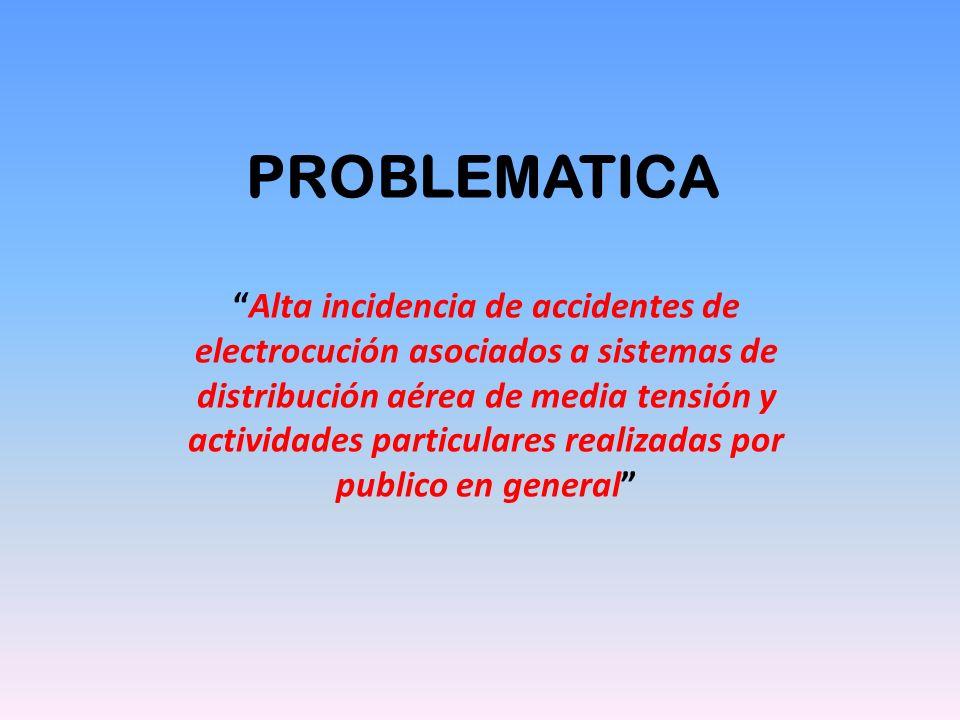 PROBLEMATICA Alta incidencia de accidentes de electrocución asociados a sistemas de distribución aérea de media tensión y actividades particulares rea