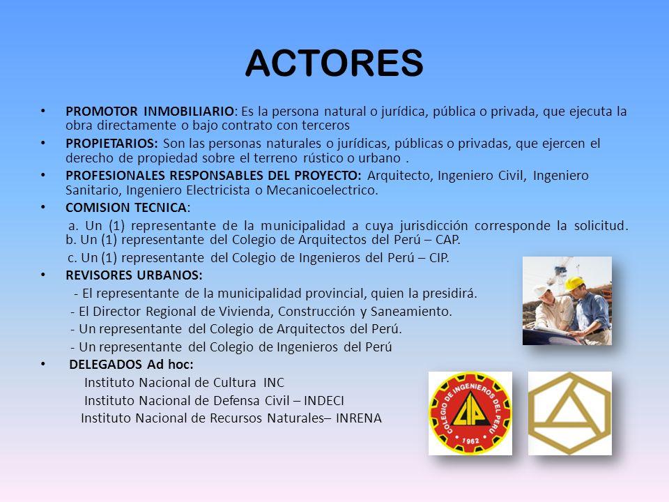 ACTORES PROMOTOR INMOBILIARIO: Es la persona natural o jurídica, pública o privada, que ejecuta la obra directamente o bajo contrato con terceros PROP