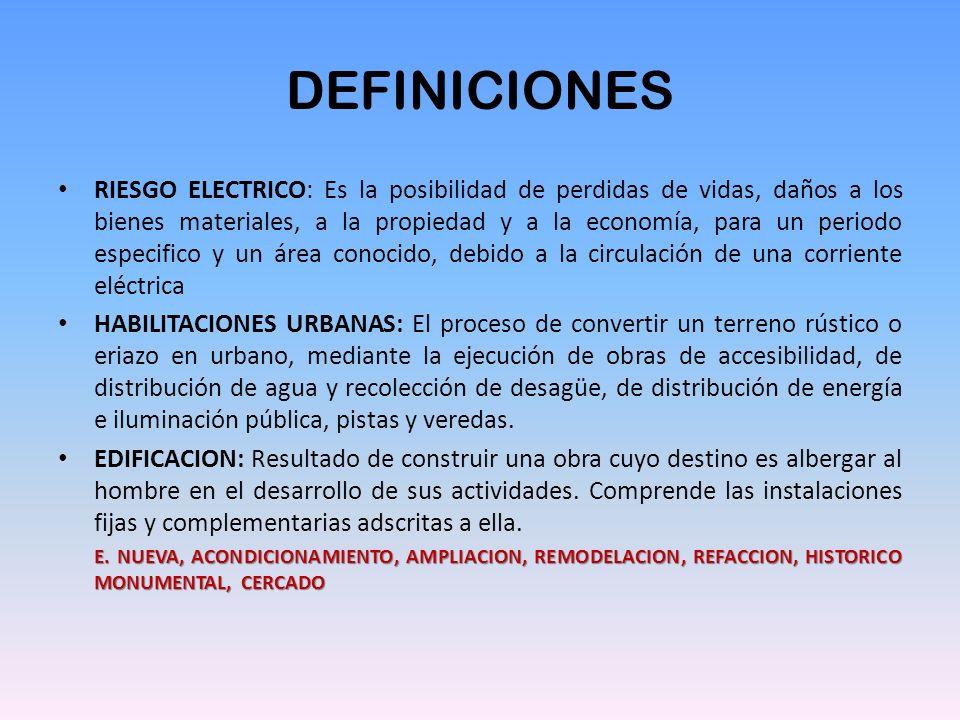 DEFINICIONES RIESGO ELECTRICO: Es la posibilidad de perdidas de vidas, daños a los bienes materiales, a la propiedad y a la economía, para un periodo