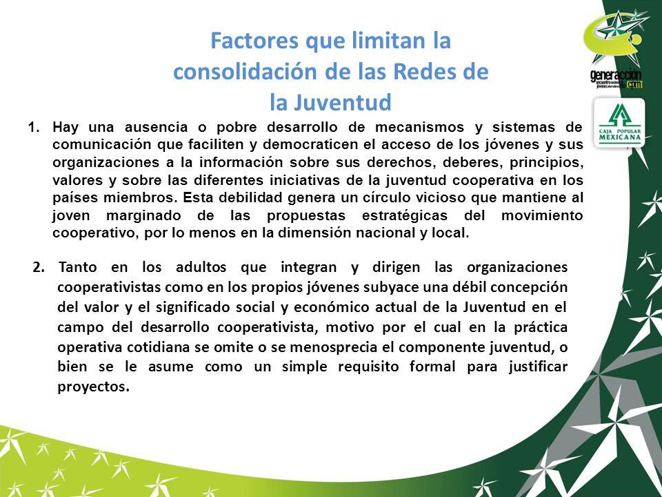 Factores que limitan la consolidación de las Redes de la Juventud 1.Hay una ausencia o pobre desarrollo de mecanismos y sistemas de comunicación que f