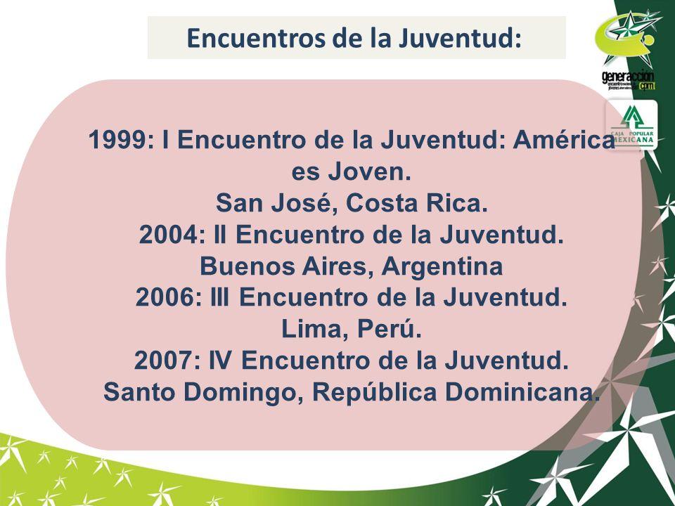 1999: I Encuentro de la Juventud: América es Joven. San José, Costa Rica. 2004: II Encuentro de la Juventud. Buenos Aires, Argentina 2006: III Encuent