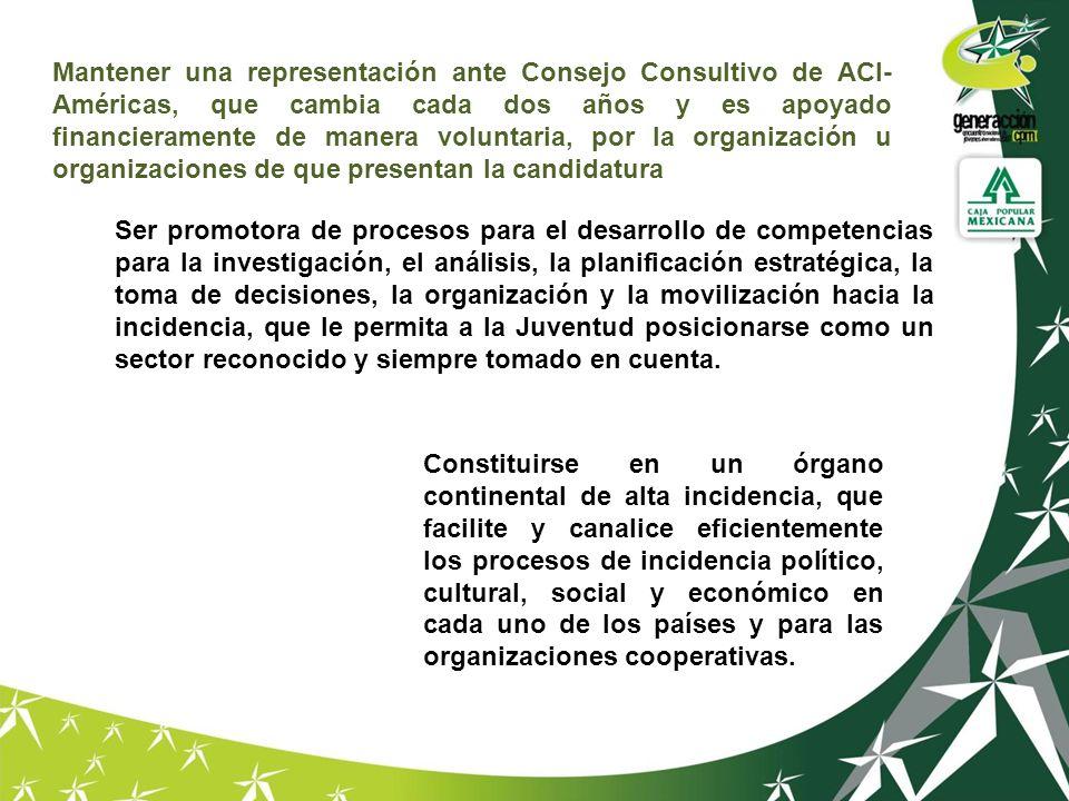 Mantener una representación ante Consejo Consultivo de ACI- Américas, que cambia cada dos años y es apoyado financieramente de manera voluntaria, por