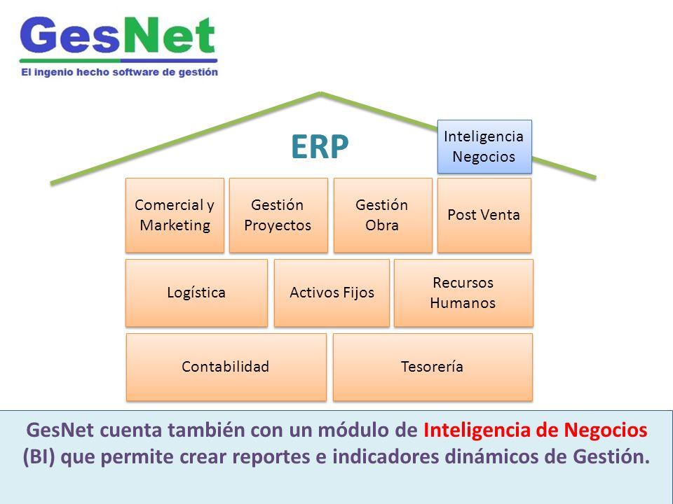 Contabilidad ERP GesNet es un moderno software integrado de gestión Desarrollado para industria inmobiliaria y construcción GesNet cuenta también con un módulo de Inteligencia de Negocios (BI) que permite crear reportes e indicadores dinámicos de Gestión.