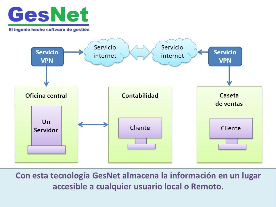 Servicio internet Oficina central GesNet es un moderno software integrado de gestión Desarrollado para industria inmobiliaria y construcción Con esta tecnología GesNet almacena la información en un lugar accesible a cualquier usuario local o Remoto.